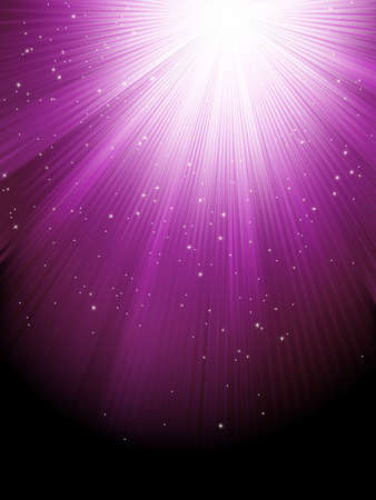 Snow and stars are falling on the background of purple luminous rays  file included Vector