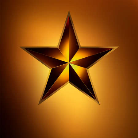 illustration of a Red star on gold background  Vector