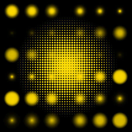 Set of spotted yellow halftone   Illustration