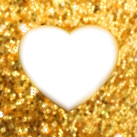 Gold frame in the shape of heart  EPS 8 vector file included  Vector