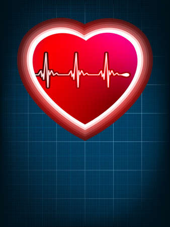 Abstract heart beats cardiogram on blue  EPS 8 vector file included Stock Vector - 18463947