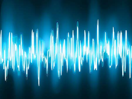 wellenl�nge: Schallwellen oszillierende auf schwarzem Hintergrund EPS 8 vector-Datei enthalten Illustration