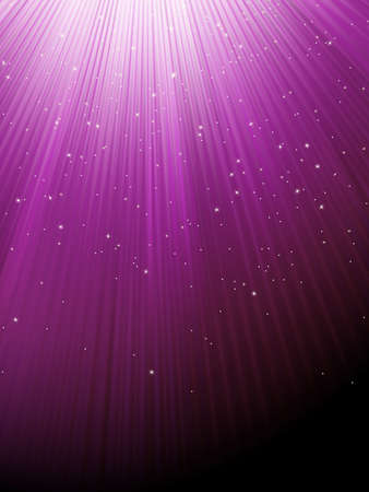 Snow and stars falling on purple rays  EPS 8 vector file included  Vector