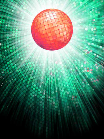 discotheque: Sparkling red disco ball on a light burst background with mosaic detail