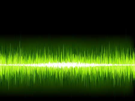 sound wave: Green sound wave on white background
