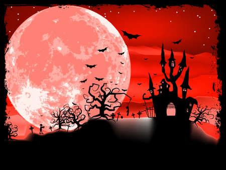 Composition Spooky Halloween avec la maison de l'horreur et les attributs de vacances populaires de fichiers EPS vectoriel 8 inclus