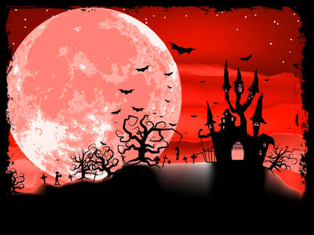 eerie: Spooky Halloween composition with horror house and popular holiday attributes  EPS 8 vector file included