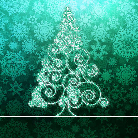 Christmas card with stylized green glowing    EPS8 vector file Vector