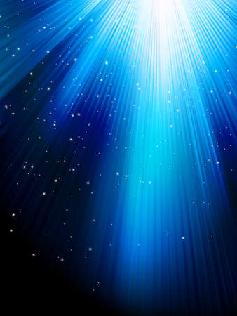 Stars on blue striped background Vector