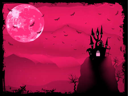 horror house: Composici�n de Halloween Spooky con casa de horror y atributos de fiesta popular