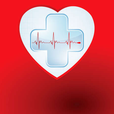 Heart and heartbeat symbol  Easy Editable Template  Without a transparency  Vector