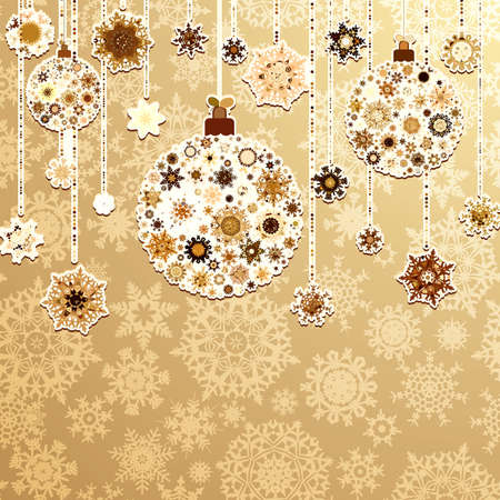tree trimming: Beige background with christmas balls