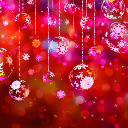 Christmas baubles on red sparkly background   Illustration
