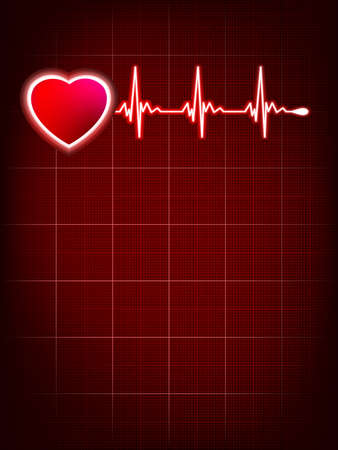 heart ekg trace: Medical heartbeat monitor (electrocardiogram) with red background and heart symbol. EPS 10 vector file included Illustration