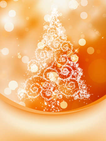 Christmas Tree on bokeh, Greeting Card.  vector file included Vector