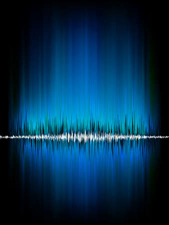 vibrations: Sound waves oscillating on black background. vector file included