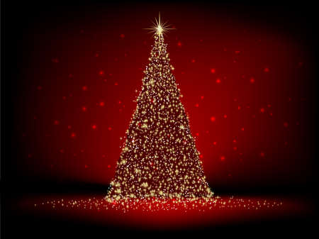 christmas concept: Abstract golden christmas tree on red background.