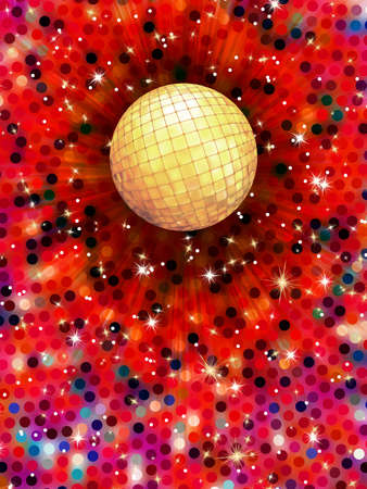 Colorful disco ball 3d illustration. Vector