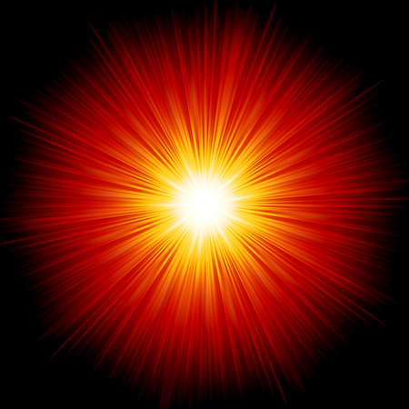 Star burst red and yellow fire.  Illustration