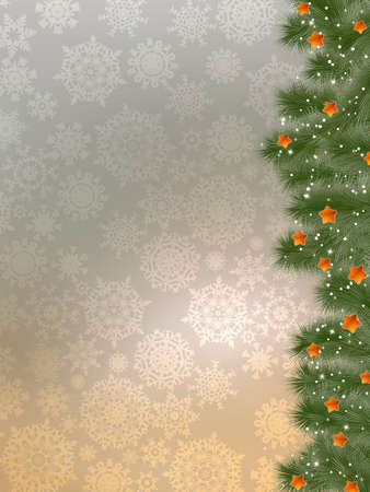 Thank you card on a bright christmas background.  Illustration