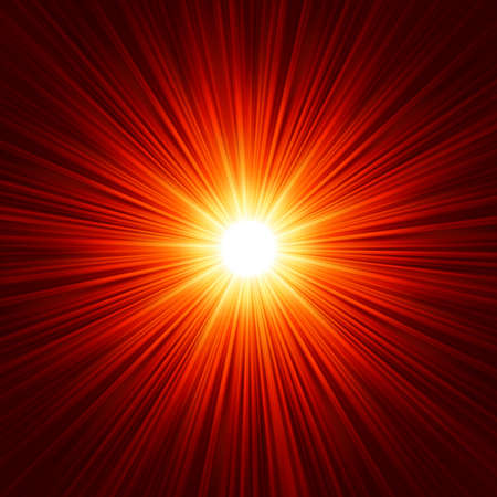 laser radiation: Star burst red and yellow fire.