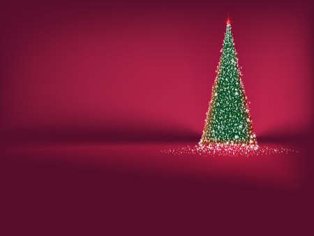 Abstract green christmas tree on red background.  Vector