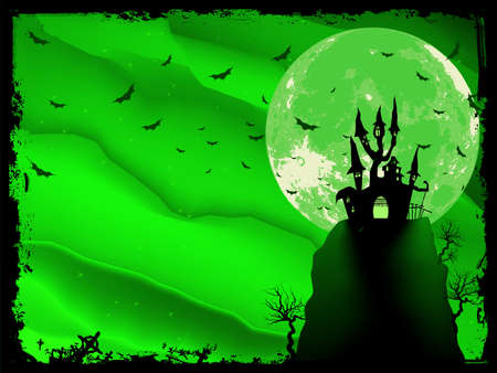 haloween: Spooky Halloween composition with horror house and popular holiday attributes.