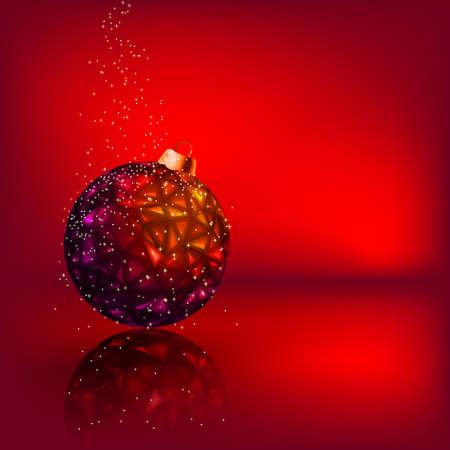 Christmas card with stars and Christmas ball   Vector