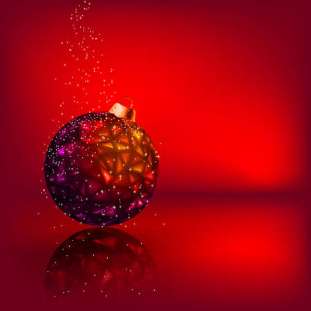 reflective background: Christmas card with stars and Christmas ball