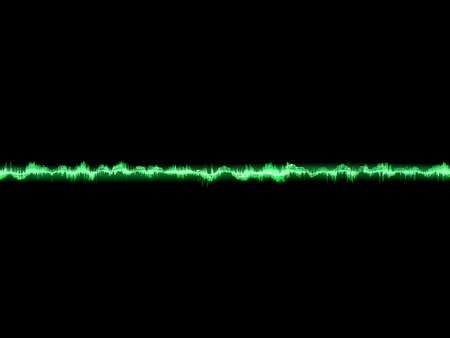 vibrations: Bright sound wave on a dark green background.