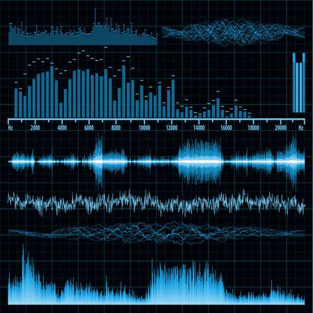 Sound waves set  Music background