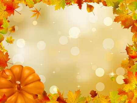 Autumn Pumpkins and leaves   Vector