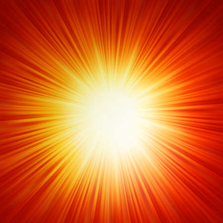 emanation: Star burst red and yellow fire.  Illustration