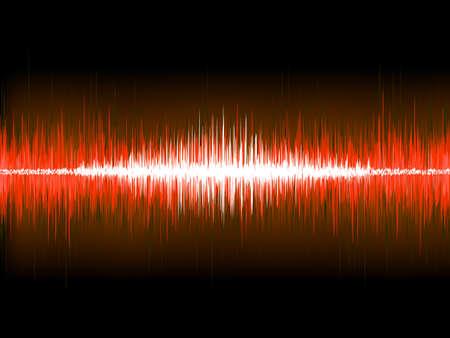 volume glow light: Sound waves on black background.