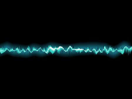 Sound waves oscillating on black background.