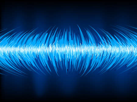 vibrations: Sound waves oscillating on black background.