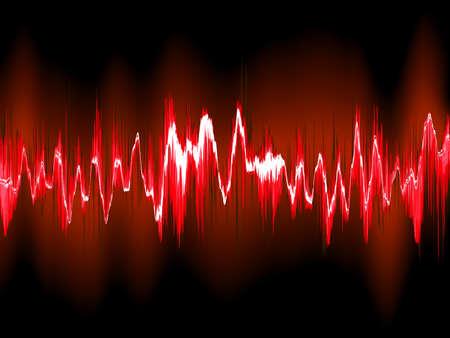 Sound waves on black background. Illustration