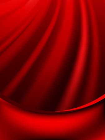 페이드: Red curtain fade to dark card.