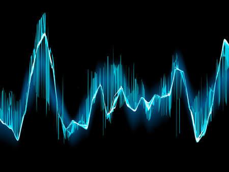 Bright sound wave on a dark blue background.  Illusztráció