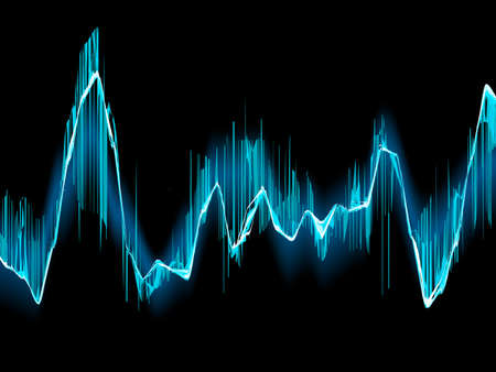 vibrations: Bright sound wave on a dark blue background.  Illustration
