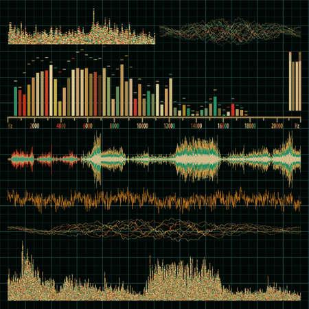 sound waves: Sound waves set  Music background