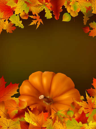 pumpkin border: Thanksgiving template with copy space