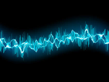 Bright sound wave on a dark blue background. Vector