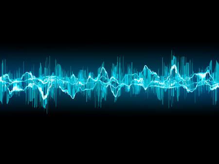 어두운 파란색 배경에 밝은 사운드 웨이브.