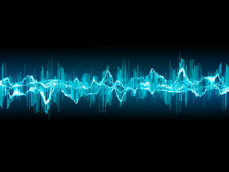 vibrations: Bright sound wave on a dark blue background.