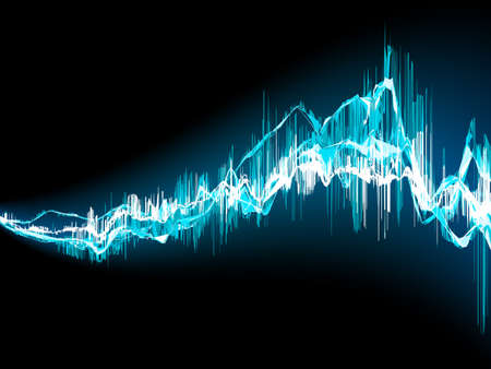 vibrations: Bright sound wave on a dark blue background