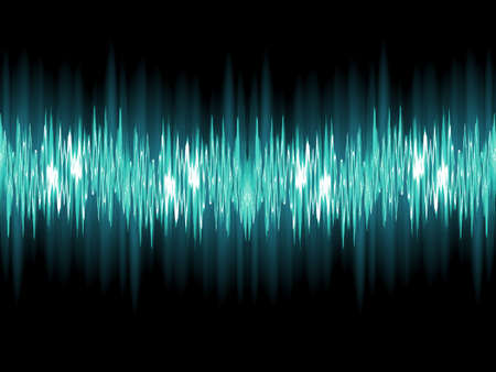 Bright sound wave on a dark green background  Vector