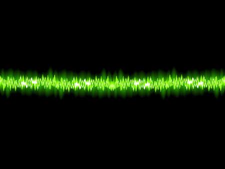 high volume: Green sound wave on white background  Illustration