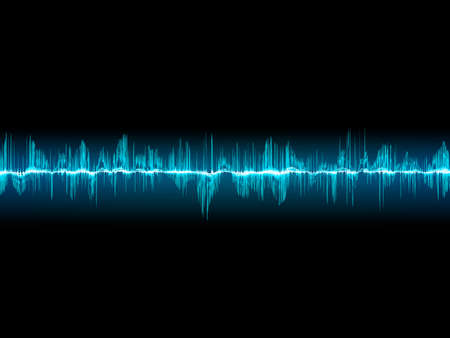 vibrations: Bright sound wave on a dark blue background Illustration