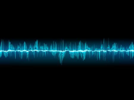 Bright sound wave on a dark blue background Illustration